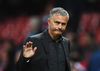 MANCHESTER, ENGLAND - SEPTEMBER 12: Jose Mourinho, Manager of Manchester United shows appreciation to the fans after the UEFA Champions League Group A match between Manchester United and FC Basel at Old Trafford on September 12, 2017 in Manchester, United Kingdom. (Photo by Laurence Griffiths/Getty Images)