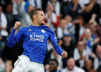 """Soccer Football - Premier League - Leicester City v Burnley - King Power Stadium, Leicester, Britain - October 19, 2019  Leicester City's Jamie Vardy celebrates scoring their first goal       REUTERS/Andrew Yates  EDITORIAL USE ONLY. No use with unauthorized audio, video, data, fixture lists, club/league logos or """"live"""" services. Online in-match use limited to 75 images, no video emulation. No use in betting, games or single club/league/player publications.  Please contact your account representative for further details."""