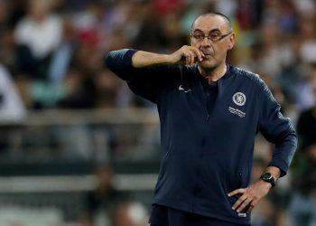 Soccer Football - Europa League Final - Chelsea v Arsenal - Baku Olympic Stadium, Baku, Azerbaijan - May 29, 2019  Chelsea manager Maurizio Sarri looks on  REUTERS/Lee Smith