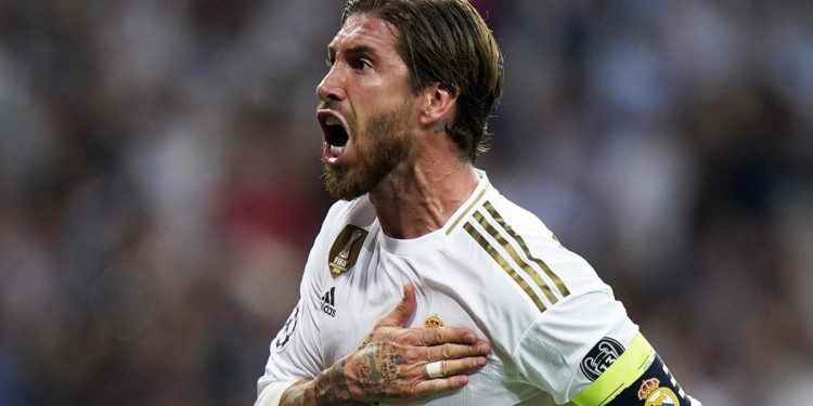 MADRID, SPAIN - OCTOBER 01: Sergio Ramos of Real Madrid celebrates a goal during the UEFA Champions League group A match between Real Madrid and Club Brugge KV at Bernabeu on October 01, 2019 in Madrid, Spain. (Photo by Quality Sport Images/Getty Images)