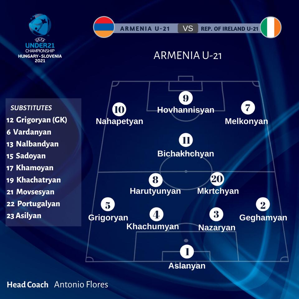 Մ-21. Հայաստան - Իռլանդիա. մեկնարկային կազմեր