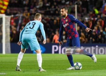 Jordi Alba of FC Barcelona and Peter Sevcik of Slavia Prague during the Champions League match between Barcelona and Slavia Prague at Camp Nou on November 5, 2019 in Barcelona, Spain. (Photo by Pressinphoto/Icon Sport via Getty Images)