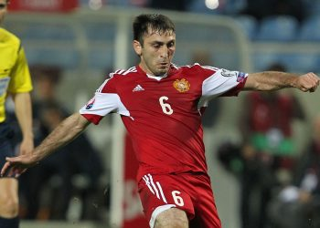 FARO, PORTUGAL - NOVEMBER 14: Armenia's midfielder Karlen Mkrtchyan during the EURO 2016 qualification match between Portugal and Armenia at the Estadio do Algarve on November 14, 2014 in Faro, Portugal. (Photo by Carlos Rodrigues/Getty Images)