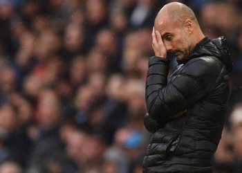 Manchester City's Spanish manager Pep Guardiola reacts on the touchline during the English Premier League football match between Manchester City and Southampton at the Etihad Stadium in Manchester, north west England, on November 2, 2019. (Photo by Oli SCARFF / AFP) / RESTRICTED TO EDITORIAL USE. No use with unauthorized audio, video, data, fixture lists, club/league logos or 'live' services. Online in-match use limited to 120 images. An additional 40 images may be used in extra time. No video emulation. Social media in-match use limited to 120 images. An additional 40 images may be used in extra time. No use in betting publications, games or single club/league/player publications. /