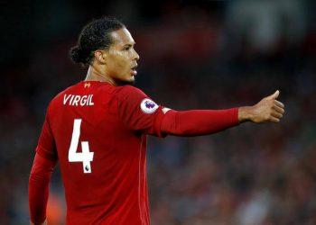 Liverpool's Virgil van Dijk during the Premier League match at Anfield, Liverpool.