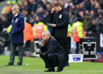 LONDON, ENGLAND - NOVEMBER 23: Jose Mourinho, Manager of Tottenham Hotspur looks on during the Premier League match between West Ham United and Tottenham Hotspur at London Stadium on November 23, 2019 in London, United Kingdom. (Photo by Stephen Pond/Getty Images)