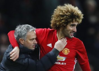 """Britain Football Soccer - Manchester United v Hull City - EFL Cup Semi Final First Leg - Old Trafford - 10/1/17 Manchester United's Marouane Fellaini celebrates scoring their second goal with manager Jose Mourinho   Action Images via Reuters / Jason Cairnduff Livepic EDITORIAL USE ONLY. No use with unauthorized audio, video, data, fixture lists, club/league logos or """"live"""" services. Online in-match use limited to 45 images, no video emulation. No use in betting, games or single club/league/player publications.  Please contact your account representative for further details."""