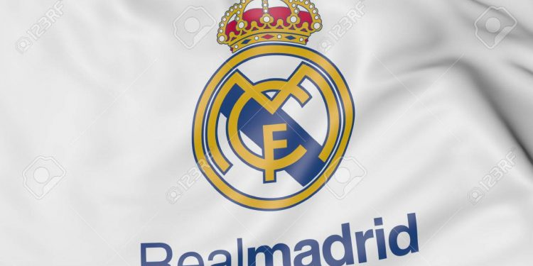 Close-up of waving flag with Real Madrid C.F. football club emblem Russian Federation