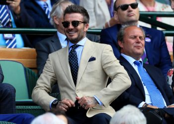 David Beckham on day eleven of the Wimbledon Championships at the All England Lawn Tennis and Croquet Club, Wimbledon. (Photo by Mike Egerton/PA Images via Getty Images)