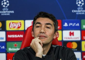 Lisbon, 09/12/2019 - Bruno Lage and Pizzi of Sport Lisboa e Benfica, spoke this afternoon at Estádio da Luz in Lisbon, in a press conference in anticipation of tomorrow's matcainst nst Football Club Zenit, counting for the Champions League Groups 2019/20. Bruno Lage (Pedro Rocha / Global Images)    Photo by Icon Sport - Bruno LAGE - Estàdio da Luz - Lisbonne (Portugal)