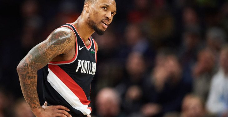 MINNEAPOLIS, MN - APRIL 01: Damian Lillard #0 of the Portland Trail Blazers reacts to a call during the game against the Minnesota Timberwolves on April 1, 2019 at the Target Center in Minneapolis, Minnesota. NOTE TO USER: User expressly acknowledges and agrees that, by downloading and or using this Photograph, user is consenting to the terms and conditions of the Getty Images License Agreement. (Photo by Hannah Foslien/Getty Images)