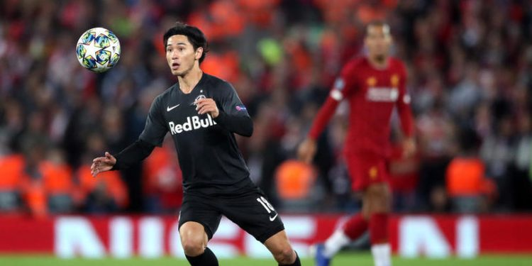 Red Bull Salzburg's Takumi Minamino during the UEFA Champions League Group E match at Anfield, Liverpool.