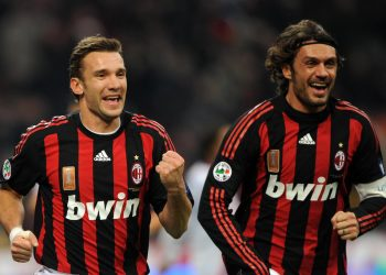 AC Milan's Ukrainian forward Andriy Shevchenko (L) and AC Milan's defender and captain Paolo Maldini celebrate after A.C. Milan's Brazilian midfielder Kaka scored a goal during their Serie A  football match against Catania at the San Siro Stadium in Milan on December 7, 2008. AFP PHOTO / GIUSEPPE CACACE (Photo credit should read GIUSEPPE CACACE/AFP/Getty Images)