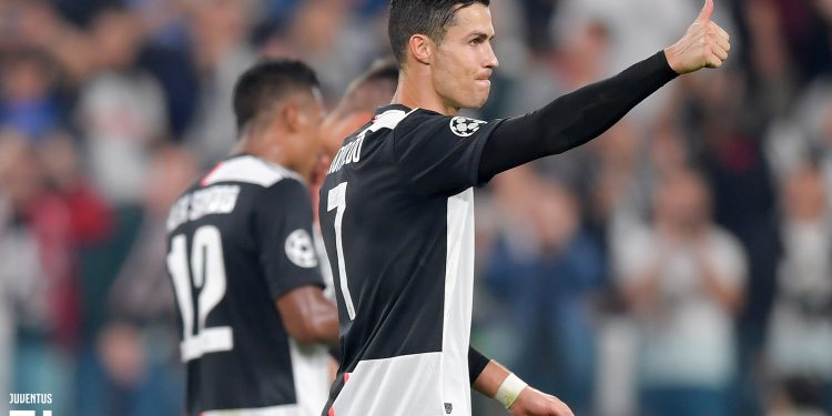 TURIN, ITALY - OCTOBER 01: Juventus player Cristiano Ronaldo celebrates 3-0 goal during the UEFA Champions League group D match between Juventus and Bayer Leverkusen at Allianz Stadium on October 01, 2019 in Turin, Italy. (Photo by Daniele Badolato - Juventus FC/Juventus FC via Getty Images)