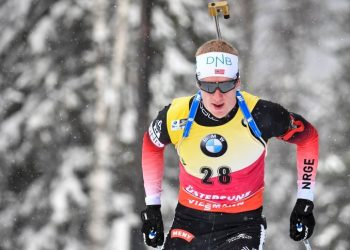Johannes Thingnes Boe of Norway competes during the men's 10 km sprint event at the IBU World Biathlon Championships in Ostersund, Sweden, Saturday March 9, 2019. (Anders Wiklund/TT via AP)