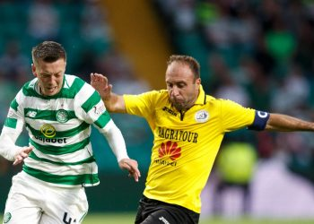 Celtic's Callum McGregor (left) and Alashkert's Artur Yedigaryan (right) during the UEFA Champions League match at Celtic Park, Glasgow. (Photo by Robert Parry/PA Images via Getty Images)