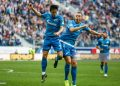 Sardar Azmoun (L) and Artem Dzyuba of FC Zenit Saint Petersburg celebrate a goal during the Russian Premier League match between FC Zenit Saint Petersburg and PFC Krylia Sovetov Samara on April 28, 2019 at Gazprom Arena in Saint Petersburg, Russia. (Photo by Mike Kireev/NurPhoto via Getty Images)