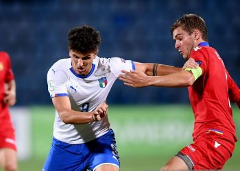 YEREVAN , ARMENIA - 17 July 2019; Elia Petrelli of Italy in action against Arsen Yeghiazaryan of Armenia during the 2019 UEFA European U19 Championships group A match between Armenia and Italy at Vazgen Sargsyan Republican Stadium in Yerevan, Armenia. (Photo By Stephen McCarthy/Sportsfile via Getty Images)