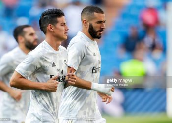 MADRID, SPAIN - AUGUST 24: (L-R) James Rodriguez of Real Madrid, Karim Benzema of Real Madrid during the La Liga Santander  match between Real Madrid v Real Valladolid at the Santiago Bernabeu on August 24, 2019 in Madrid Spain (Photo by David S. Bustamante/Soccrates/Getty Images)