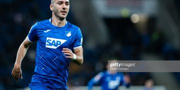 SINSHEIM, GERMANY - NOVEMBER 01: Sargis Adamyan of Hoffenheim in action during the Bundesliga match between TSG 1899 Hoffenheim and SC Paderborn 07 at PreZero-Arena on November 01, 2019 in Sinsheim, Germany. (Photo by Simon Hofmann/Getty Images)