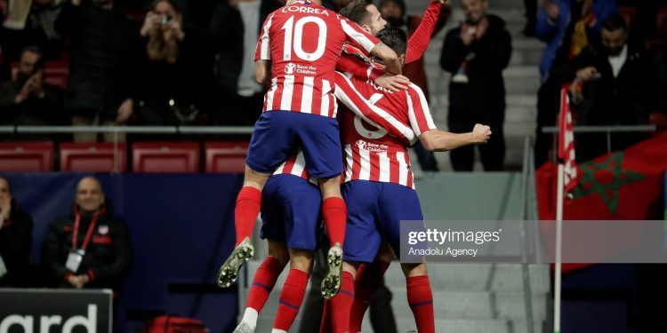 MADRID, SPAIN - DECEMBER 11: Player of Atletico Madrid celebrate after Joao Felix's goal during the UEFA Champions League match between Atletico Madrid and Lokomotiv Moscow at the Estadio Wanda Metropolitano on December 11, 2019 in Madrid Spain. (Photo by Burak Akbulut/Anadolu Agency via Getty Images)