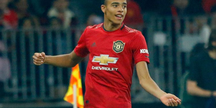 PERTH, AUSTRALIA - JULY 17: Mason Greenwood of Manchester United celebrates his goal during the match between Manchester United and Leeds United at Optus Stadium on July 17, 2019 in Perth, Australia. (Photo by James Worsfold/Getty Images)