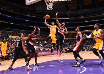 LOS ANGELES, CA - OCTOBER 11:  Jordan Clarkson #6 of the Los Angeles Lakers shoots the ball against the Portland Trail Blazers during a preseason game on October 11, 2016 at STAPLES Center in Los Angeles, California. NOTE TO USER: User expressly acknowledges and agrees that, by downloading and/or using this Photograph, user is consenting to the terms and conditions of the Getty Images License Agreement. Mandatory Copyright Notice: Copyright 2016 NBAE (Photo by Andrew D. Bernstein/NBAE via Getty Images)