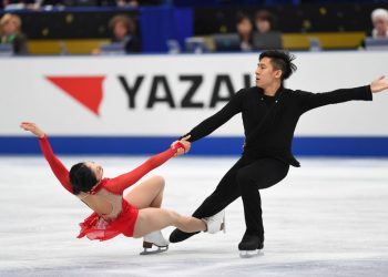 OSAKA, JAPAN - NOVEMBER 11:  Wenjing Sui and Cong Han of China compete in the Pairs free skating during the ISU Grand Prix of Figure Skating at  on November 11, 2017 in Osaka, Japan.  (Photo by Atsushi Tomura - ISU/ISU via Getty Images)