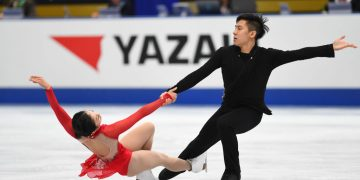 OSAKA, JAPAN - NOVEMBER 11:  Wenjing Sui and Cong Han of China compete in the Pairs free skating during the ISU Grand Prix of Figure Skating at  on November 11, 2017 in Osaka, Japan.  (Photo by Atsushi Tomura - ISU/ISU via Getty Images)