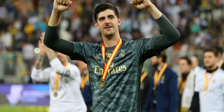 JEDDAH, SAUDI ARABIA - JANUARY 12: Thibaut Courtois of Real Madrid shows his appreciation to the fans after his teams victory in the Supercopa de Espana Final match between Real Madrid and Club Atletico de Madrid at King Abdullah Sports City on January 12, 2020 in Jeddah, Saudi Arabia. (Photo by Francois Nel/Getty Images)