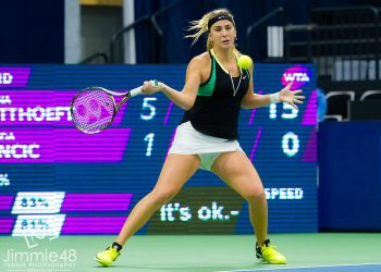 BIEL, SWITZERLAND - APRIL 11 : Belinda Bencic in action at the 2017 Ladies Open Biel WTA International tennis tournament