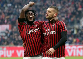 AC MilanÕs Ante Rebic (R) jubilates with his teammate  Franck Kessie after scoring goal of 1 to 1 during the Italian serie A soccer match  Ac Milan vs and Udinese Calcio  at Giuseppe Meazza stadium in Milan 19 January  2020. ANSA / MATTEO BAZZI