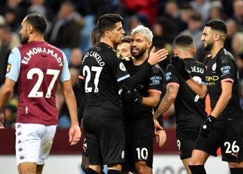 BIRMINGHAM, ENGLAND - JANUARY 12: Sergio Aguero of Manchester CIty celebrates after scoring his sides third goal during the Premier League match between Aston Villa and Manchester City at Villa Park on January 12, 2020 in Birmingham, United Kingdom. (Photo by Justin Setterfield/Getty Images)