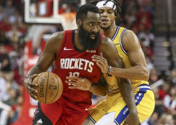 Nov 6, 2019; Houston, TX, USA; Houston Rockets guard James Harden (13) dribbles the ball as Golden State Warriors guard Damion Lee (1) defends during the third quarter at Toyota Center. Mandatory Credit: Troy Taormina-USA TODAY Sports