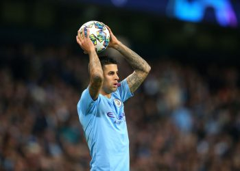 MANCHESTER, ENGLAND - OCTOBER 01:  Joao Cancelo of Manchester City takes a throw in during the UEFA Champions League group C match between Manchester City and Dinamo Zagreb at Etihad Stadium on October 01, 2019 in Manchester, United Kingdom. (Photo by Alex Livesey - Danehouse/Getty Images)