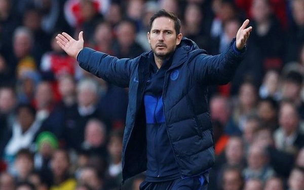 """Soccer Football - Premier League - Arsenal v Chelsea - Emirates Stadium, London, Britain - December 29, 2019 Chelsea manager Frank Lampard reacts REUTERS/Eddie Keogh  EDITORIAL USE ONLY. No use with unauthorized audio, video, data, fixture lists, club/league logos or """"live"""" services. Online in-match use limited to 75 images, no video emulation. No use in betting, games or single club/league/player publications.  Please contact your account representative for further details."""