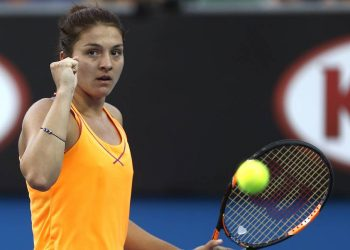 Margarita Gasparyan of Russia reacts after winning a point against Yulia Putintseva of Kazakhstan during their third round match at the Australian Open tennis championships in Melbourne, Australia, Friday, Jan. 22, 2016.(AP Photo/Rafiq Maqbool)