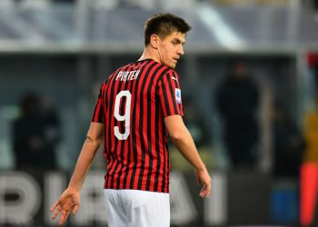 PARMA, ITALY - DECEMBER 01: Krzysztof Piatek of AC Milan  looks on during the Serie A match between Parma Calcio and AC Milan at Stadio Ennio Tardini on December 1, 2019 in Parma, Italy.  (Photo by Alessandro Sabattini/Getty Images)