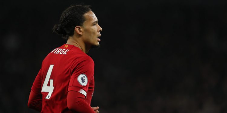 LONDON, ENGLAND - JANUARY 11: Virgil Van Dijk of Liverpool during the Premier League match between Tottenham Hotspur and Liverpool FC at Tottenham Hotspur Stadium on January 11, 2020 in London, United Kingdom. (Photo by Matthew Ashton - AMA/Getty Images)