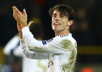 BRUGGE, BELGIUM - DECEMBER 11: Alvaro Odriozola of Real Madrid applauds fans after following victory in the UEFA Champions League group A match between Club Brugge KV and Real Madrid at Jan Breydel Stadium on December 11, 2019 in Brugge, Belgium. (Photo by Dean Mouhtaropoulos/Getty Images)