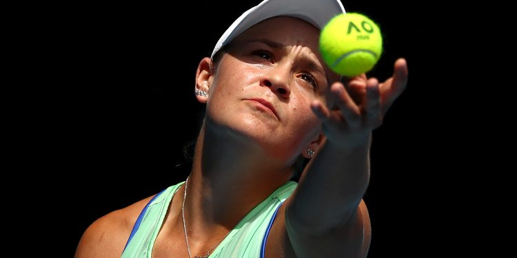 MELBOURNE, AUSTRALIA - JANUARY 24:  Ashleigh Barty of Australia serves during her Women's Singles third round match against Elena Rybakina of Kazakhstan on day five of the 2020 Australian Open at Melbourne Park on January 24, 2020 in Melbourne, Australia. (Photo by Kelly Defina/Getty Images)