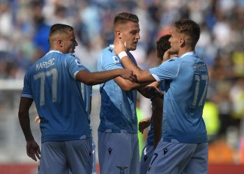 Sergej Milinkovic Savic of Lazio celebrating after score a goal with Ciro Immobile. Roma 29-9-2019 Stadio Olimpico  Football Serie A 2019/2020  SS Lazio - Genoa CFC Foto Antonietta Baldassarre / Insidefoto