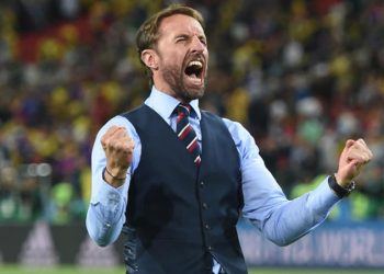 (180703) -- MOSCOW, July 3, 2018 (Xinhua) -- Head coach Gareth Southgate of England celebrates victory after the 2018 FIFA World Cup round of 16 match between England and Colombia in Moscow, Russia, July 3, 2018. England won 5-4 (4-3 in penalty shootout) and advanced to the quarter-final. (Xinhua/He Canling)