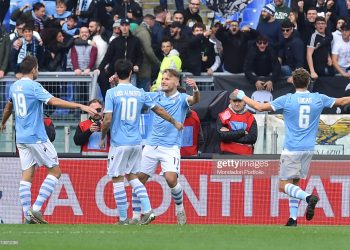 Lazio football player Ciro Immobile celebrating after score the goal during the match Lazio-Udinese in the Olimpic stadium. Rome (Italy), December 1st, 2019 (photo by Massimo Insabato/Archivio Massimo Insabato/Mondadori Portfolio via Getty Images)