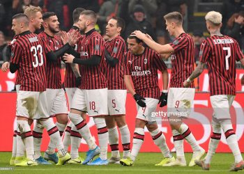 MILAN, ITALY - JANUARY 15: (L-R) Rade Krunic of AC Milan, Ante Rebic of AC Milan, Giacomo Bonaventura of AC Milan, Ismael Bennacer of AC Milan, Krzysztof Piatek of AC Milan, Samuel Castillejo of AC Milan celebrates 1-0 during the Italian Coppa Italia  match between AC Milan v SPAL 2013 at the San Siro on January 15, 2020 in Milan Italy (Photo by Mattia Ozbot/Soccrates/Getty Images)