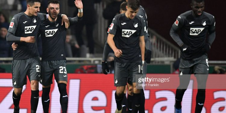 BREMEN, GERMANY - JANUARY 26: Sargis Adamyan (2L) of Hoffenheim celebrates his team's third goal with team mates during the Bundesliga match between SV Werder Bremen and TSG 1899 Hoffenheim at Wohninvest Weserstadion on January 26, 2020 in Bremen, Germany. (Photo by Stuart Franklin/Bongarts/Getty Images)