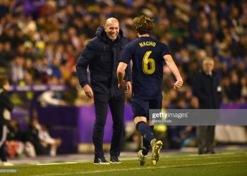 VALLADOLID, SPAIN - JANUARY 26:  Nacho Fernandez of Real Madrid (6) celebrates with Zinedine Zidane, Manager of Real Madrid as scores his team's first goal during the Liga match between Real Valladolid CF and Real Madrid CF at Jose Zorrilla on January 26, 2020 in Valladolid, Spain. (Photo by Denis Doyle/Getty Images)