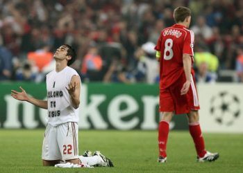AC Milan's Kaka, left, celebrates as Liverpool's Steven Gerrard walks away at the end of the Champions League Final soccer match between AC Milan and Liverpool at the Olympic Stadium in Athens Wednesday May 23, 2007. Milan won the match 2-1. (AP Photo/Jon Super)