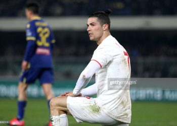 VERONA, ITALY - FEBRUARY 08 : Cristiano Ronaldo of Juventus Disappointed ,during the Serie A match between Hellas Verona and Juventus at Stadio Marcantonio Bentegodi on February 8, 2020 in Verona, Italy. (Photo by MB Media/Getty Images)