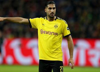 LEVERKUSEN, GERMANY - FEBRUARY 08: Emre Can of Dortmund gestures during the Bundesliga match between Bayer 04 Leverkusen and Borussia Dortmund at BayArena on February 08, 2020 in Leverkusen, Germany. (Photo by Lars Baron/Bongarts/Getty Images)